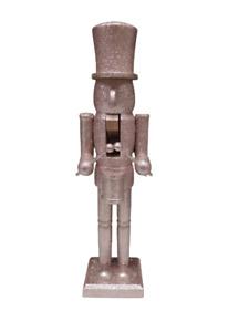 38cm Rose Gold Glitter Nutcracker Man Wooden Ornament Christmas Soldiers Decor