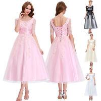 Vintage Lace Tea Length Evening Party Prom Bridesmaid Dress Wedding Size 6-18+