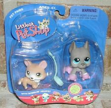 Littlest Pet Shop GREAT DANE w skates & Corgi dog  #183 #184 2006 RARE