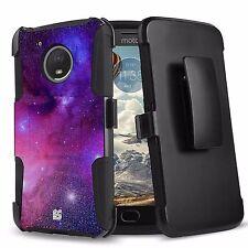 For MOTO E4 Hybrid Rugged Armor Clip Protector Case Image Galaxy Stars