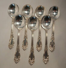 """REED & BARTON """"TIGER LILY"""" SILVERPLATE 7 ROUND SOUP SPOONS 7"""" NO MONOGRAM"""