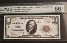RARE USA PMG 66 $10 1929 FEDERAL CHICAGO 1860-G JONES WOOD