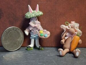 Dollhouse Miniature Clay Easter Bunny Rabbits Set 1:48 scale F64 Dollys Gallery
