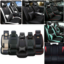 Full 5-Seats Car Seat Cover PU Leather Front+Rear Cushion &Pillow Set All Season