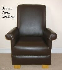 Dark Brown Faux Leather Child's Chair Nursery Children New Bedroom Playroom Kids