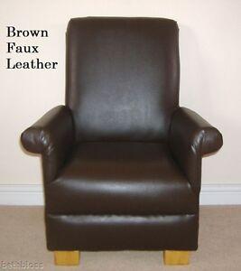 Dark Brown Faux Leather Child's Chair Nursery Children New Bedroom Playroom Kids