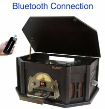 8-in-1 Boytone BT-25BK Classic Turntable Bluetooth AM/FM Cassette USB SD MP3