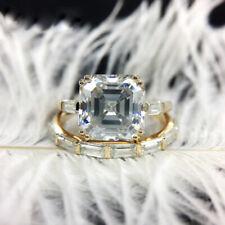 Ring Sets Solid 14k Yellow Gold 4.0Ct 9mm Df Asscher Cut Moissanite Engagement