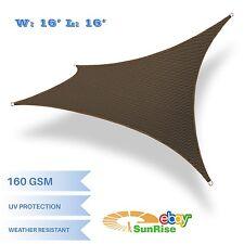 16x16ft Brown Rectangle Sun Shade Sail UV Block Fabric Canopy Patio Garden Yard