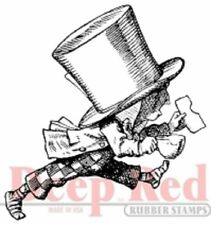 Deep Red Rubber Cling Stamp Alice in Wonderland Mad Hatter Running