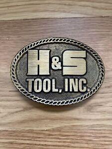 H & S Tool, Inc. Belt Buckle Vintage Solid Brass NOS?