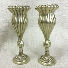 Pair of Antique Silver Plated Vases Art Nouveau Ribbed Fluted Tulip 19th century