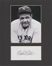 BABE RUTH, YANKEES CUSTOM 8 by 10 MATTED REPRINT PHOTO & REPRINT AUTOGRAPH