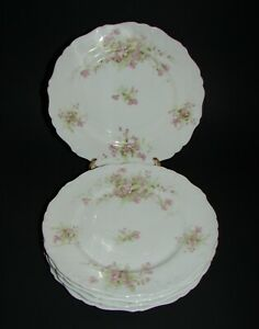Set of 5 Bassett Limoges Austria Porcelain Luncheon Plates BSS43 Pink 8 5/8""