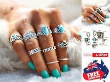 10pcs Rose Heart Women's Boho Midi Finger Ring Set Stack Above Knuckle Jewelry