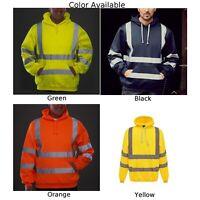High Viz-Vis Hooded Sweatshirt Safety Overalls Reflective Jumper Hoodie Hi Vis1x