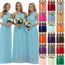 One Shoulder Chiffon Bridesmaid Dress Long Formal Evening Prom Ball Gown 8-26
