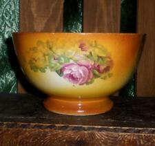 Shabby Rustic Antique Bowl Two tone Orange with Green Floral Transferware