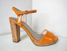 Tamaris Lack Riemchen Pumps orange Gr. 40 Sandale Pumps Sandalette Patent Myggia