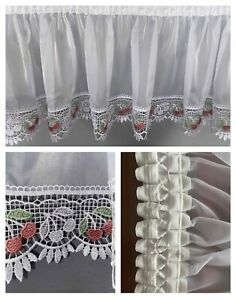 White Voile Window Curtain Pelmet Valance with Lace Guipure Ready Made