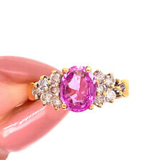 Ring in 18k Yellow Gold LeVian Pink Sapphire and Diamond Right-Hand
