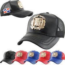 ae6358b22b437 Dominican Republic Emblem DR PU Leather Mesh Baseball Cap Hat