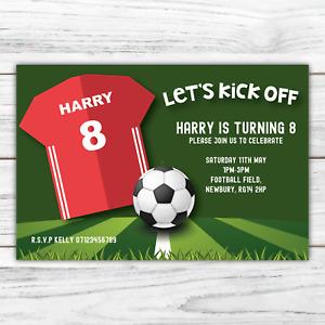 10 *PERSONALISED* invitations FOOTBALL party footy soccer BIRTHDAY invites