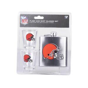 NFL Cleveland Browns 6oz Flask & 2oz Glass Shot Set Stainless Steel Flask