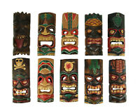 Set of 10 Hand Carved Tropical Island Style Tiki Masks Decorative Wall Hangings