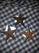 "Lot of 3 Primitive Rusty 3.5"" Barn Stars - Decorate, Craft, Ornament, Rust, star"