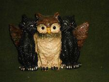 Halloween Owl w Two BLACK CAT Friends Brand New!!! LOOK!!! UNIQUE!!!