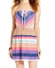 Tommy Hilfiger Girl Juniors Dress Sz M Multi Striped Halter Strapless Sheer