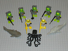 LEGO Minifigures 7 Atlantis Divers Army Toys Spear Gun Shark Lego Minifigs Guys