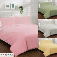 Alice Pom Pom Lace Embellished Cotton Quilt Duvet Cover Bedding Bed Linen Set