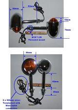 De Metal Cromado indicadores Bala Larga 52mm motocicleta Stem Corcho Cafe Racer