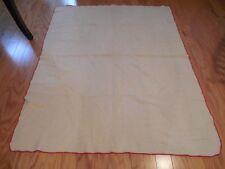 Vintage Wool Blanket Throw Faribault Woolen Mill Cream & Red Waffle Weave 60x48