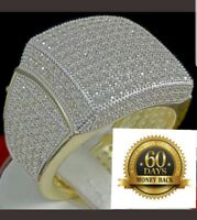 BIG BOLD ICED OUT MEN'S NEW YELLOW GOLD FINISH SILVER PINKY RING BAND FULL STONE