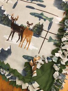 Handmade FLEECE TIE-BLANKET Deer Stag Fish Animal Nature Mountain 58x72 -2 Layer