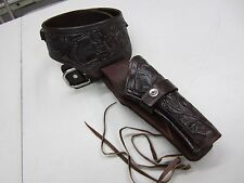 "WESTERN GUN HOLSTER  CAL.22 SIZE 36""  BROWN TOOLED LEATHER COWBOY HOLSTER RIG"