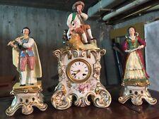 Magnifique Pendule Porcelaine Paris Polychrome XIX Louis Philippe & Statuettes