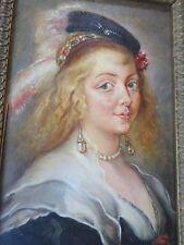 BERCKMANS Carl-XIXe-Tableau ancien/ Huile- Portrait  Helena Fourment-Rubens-OIL