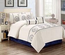 Hillsbro 7 Piece Opal Perle White Pillows Shams Comforter Set King Size