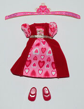 KELLY DOLL CLOTHES * RED PINK VALENTINE GOWN DRESS & RED MARY JANE SHOES