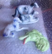 3 VINTAGE HUNTING RUSSIAN WOLFHOUND BORZOI DOG FIGURINES