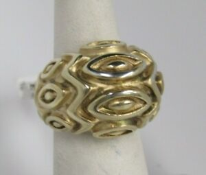 VicenzaSilver Sterling Bold Satin Marquise Pattern Domed Ring Sz 5