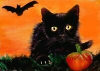 BCB Black Cat Scared Kitten Bat Halloween Print of Painting ACEO 2.5 x 3.5 Inch