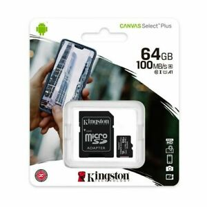 Kingston 64GB Micro SD Card Class 10 SDXC Canvas Plus Memory Mobile Tablet 100Mb