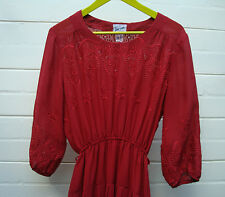 Vintage RED EMBROIDERED Broderie Midi PLEAT Skirt DRESS