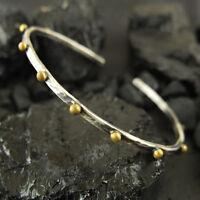 Handmade Ancient Gold Dot Bracelet 24K Gold over 925 Sterling Silver Combination