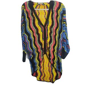 Neiman Marcus Grandpa Cardigan Chevron Oversize Sweater Colorful Open